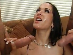 After getting a hard fuck, Carmella Bing gets a face full of hot cum