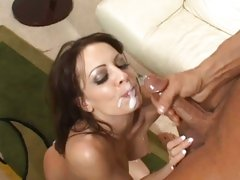 Hottie Vanessa Lane getting her sexy mouth and lips sprayed with cum