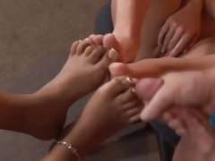 Tart Kyanna Lee has her feet splattered with jizz