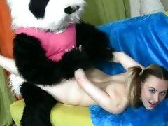 This kinky Panda fucks this bitch up her wet slit