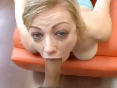 Adrianna Nicole chokes down a meaty cock all the way down her throat