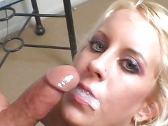 Filthy Desire Moore gets her face splattered with cum