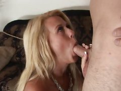 Raunchy Milf loves gobbles down a hard meat pole