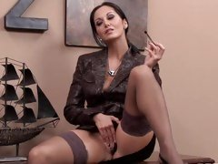 Horny Ava Addams gives her dripping snatch a fingering