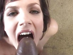 Bobbi Starr getting a mouth full of black cock seed