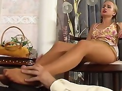 Florence and Lesley stunning nylon feet action