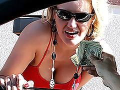 Blonde escort Zoe holiday gives avid road head!