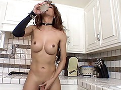 Breasty tranny wanking her cock
