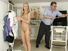 Hot petite Bella Anne open pussy exam