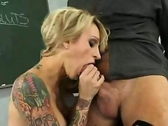 Scorching sexy Sarah Jessie choked her warm Mouth with her teacher's knob