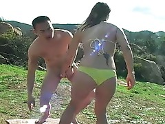 Ballbusting bikini honey