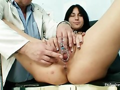 Breasty Adriana milk shakes and pussy gyno exam at Kinky clinic