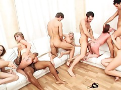 Saucy honeys realize their dream to fuck in Amazing orgy!