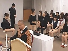 Asian girls go to church half nude in public