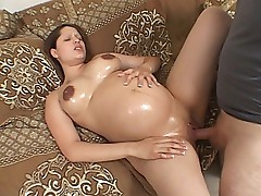 Preggo sweetheart enjoys cock plugging