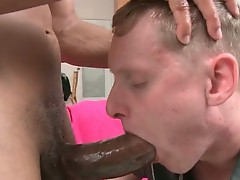 Blond guy riding fat black dick like pro