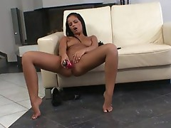 Obscene tanned honey Black Angelica Enjoys her Much loved Toy stuffed in her love tunnel