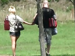 Cheating non-professIonal caught on film blowing lover in the park