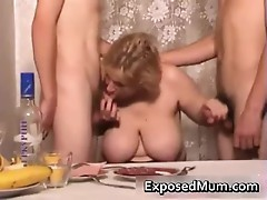 Mom participates in hot threesome after