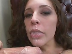 Saucy Charming Gracie Glam acquires sprayed with a warm jizzload on that boyr Mouth