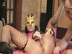 French girl masked gets ride on webcam