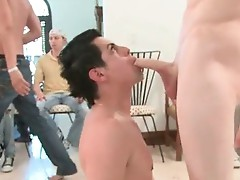 Horny gay gang sucking and fucking muscled stripper