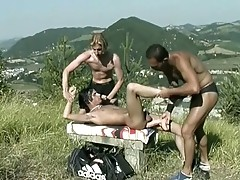 Horny gay threesome anal pounding outdoors after swimming