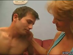 Filthy blonde granny indulges old hole with young rod