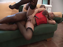 Check out this hot slutty babe as she fucks some nice big black cock