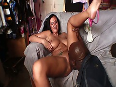 Hot busty brunette babe slams this big black cock inside her