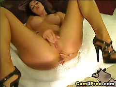 Beautiful hot brunette loves snatching her nice twat