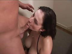 Big breasted brunette gets rammed