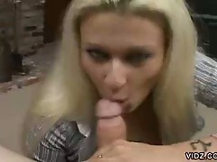 Horny blonde milf giving head in a hot pov video