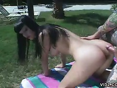 Horny brunette slut opens wide for big cock in hot outdoor fuck