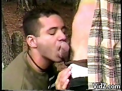 Two gay latinos suck cock in the forest