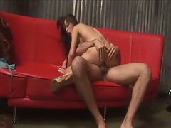 Jenna presley fucked at the bar in a red sofa