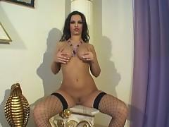 Sexy brunette chick masturbates hot on cam