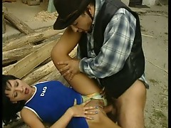 Cowboy fucks dark haired chick outdoors