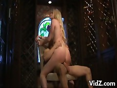Horny blonde chick rides a big hard cock on a chair