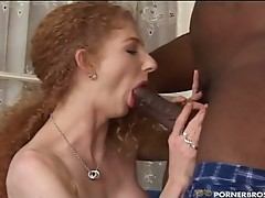 Curly babe Annie Body loves interracial cock action