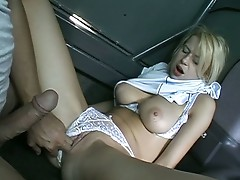 Hot blonde chick hitches for a ride and gets screwed