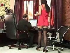 Horny secretary seduces boss into getting her ass fucked