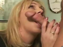Blonde milf sucks some nice hard young cock