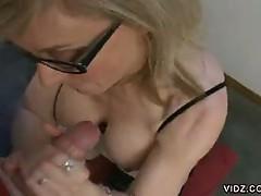Mature hot blonde slut loves pumping dick blow job