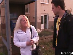 Horny granny pounded by young dude