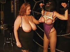 Masked slavegirl bound by chubby mistress