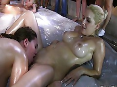 Lubed up college girls wrestling and eat pussy