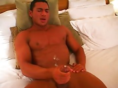 Hunk Rico shows off and cums