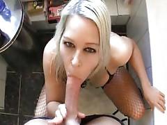 Blonde in bathroom blowjob