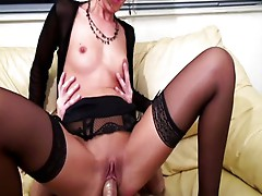 French chick in fine lingerie wants it hard